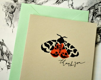 Hand Printed Garden Tiger Moth Thank You Card - Hand Lettered Greeting