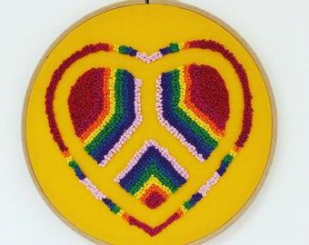Rainbow Peace and Love ~ Peace ~ Love ~ Embroidery Hoop ~ Wall Art ~Rainbow Decorations