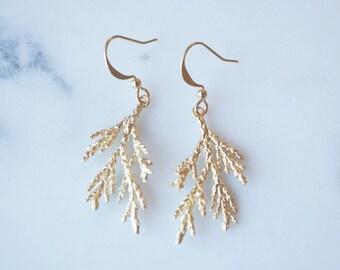 Earrings, Evergreen branch earrings, nature inspired woodland wedding jewelry.