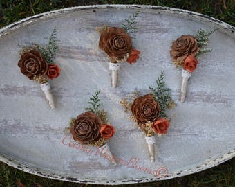 Woodland Boutonniere Fall Boutonniere Rustic Boutonniere Winter Boutonniere Groom Gold Boutonniere Sola Groomsman Father of the Bride Groom