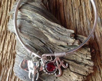 Alabama Roll Tide elephant bracelet: Silver Alabama Crimson Tide charm bracelet with elephant, roll tide jewelry, crimson tide jewelry