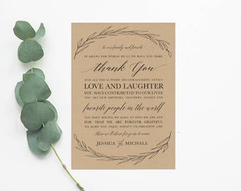 Kraft Leaves Wedding Reception Thank You Card - DIY Printable Digital File - Kraft and Burlap Rustic Thank You Place Card