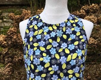 Blue Floral 90's Dress // Medium // Large // 6 // 8 // Vintage // White // Summer // Green