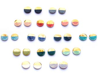 Tiny round handmade stoneware earring stud pair in bright colors dipped in 22k gold luster with sterling silver posts and backs