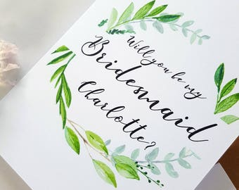 Will you be my Bridesmaid Card / Will you be my Maid of Honour Card / Green Wreath Wedding