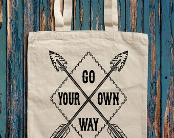 Go your own way Arrow graphic print Canvas Tote Bag