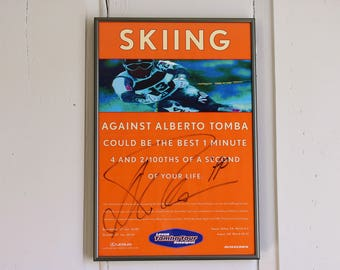 Framed Autographed Alberto Tomba Skiing Poster, Tomba Tour Signed Poster Print, Winter Olympics Orange Blue Skiing Skier Gift, Man Cave Bar