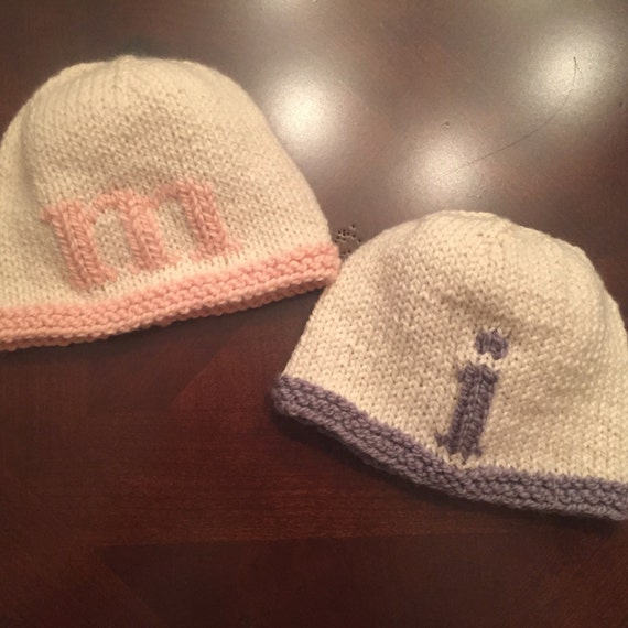 Hand-Knit Letter Hat for Baby/Child - 100% Merino Wool