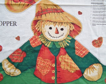 Scarecrow Door Draft Stopper Craft Fabric Panel Printed Cotton Soft Sculpture Country Decor Decoration Fall Colors Yellow orange Green