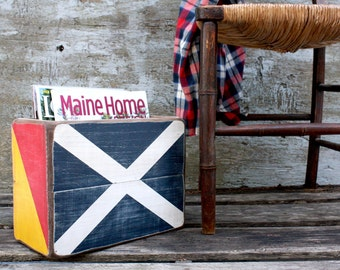 Nautical Flag Wood Magazine Rack Holder Box Sailing Coastal Decor Beach Decor