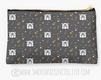 Bulldog bag - zipper pouch, sleeve, pocket, clutch, organizer - English Bulldog fabric print - YOU CHOOSE design! Perfect Bully gift!