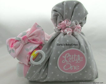 Stork Bundle Baby | Girl diaper cake | Baby Diaper Cake | Baby Shower Gift | Baby sprinkle gift | Unique baby gift | Baby Shower centerpiece