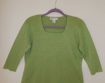 """Dressbarn 38"""" Bust Womens L Lime Green Shimmer Knit Pullover Sweater"""