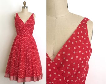 vintage 1960s Lilli Diamond dress | 60s sultry polka dot and striped dress