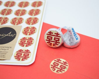24 Gold Stickers with Red Double Happiness Symbol - Handmade Envelope Seals - Wedding invitations & favours - Hershey Kiss