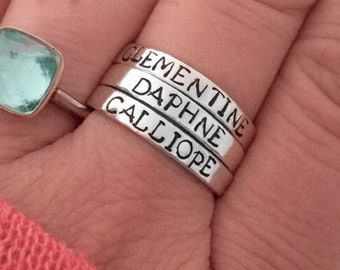 Custom ring Sterling silver stacking ring personalized  - hand stamped ring - very sturdy ring - great gift - fun piece of jewelry