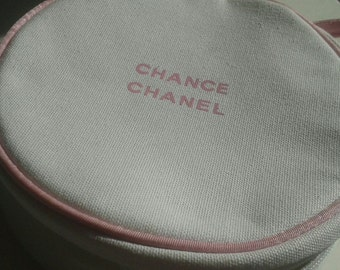 Circular Ladies Make-up, Cosmetic Case, Toiletry Storage Zipper Bag Pouch White and Pink
