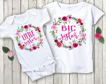 Little Sister Big Sister Shirts Sibling Shirts Baby Announcement Baby Shower Gift available in ANY SIZE New Baby Sister Shirt Squishy Cheeks