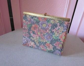 """1960s Floral Print """"Glitter"""" Clutch"""