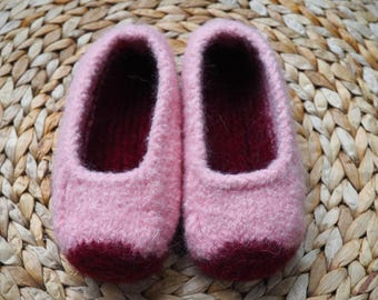 Bubble Gum Felted Eco Slippers