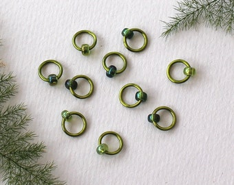 Knitting Stitch Markers - knitting tools, GREENERY, snag free, knitting markers, knitting supplies, gifts for knitters