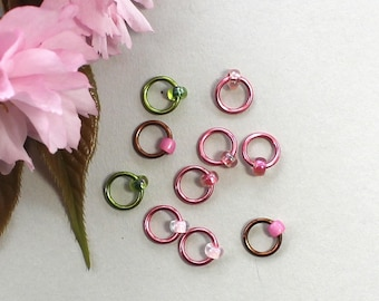 Knitting stitch markers - PINK CHERRY BLOSSOM refill, knitting tools, snag free, knitting markers, knitting supplies, gifts