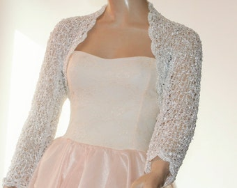 Wedding Bridal Bolero Shrug Lace Crochet Knit  Shrug Boleros Off  White Silver 3/4 Sleeve