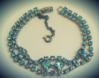 Beautiful 1950's vintage sapphire rhinestone bracelet ~ prong set faceted crystals, silver tone metal, security chain ~ mid century bling