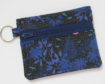 Bifold Keychain Wallet w/ Zipper Coin Pocket & Credit Card/Cash Pockets in Cotton + Steel Hotsprings / Honeymoon Fabric - One of a Kind!