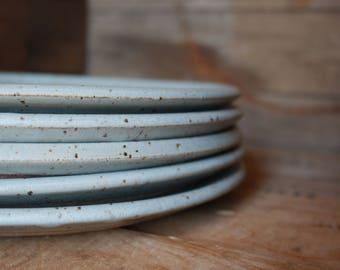 Set of 4 - Dinner Plates - Speckled Grey - KJ Pottery