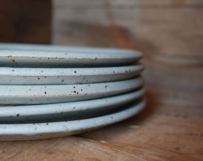 Set of 4 - Dinner Plates - Speckled Grey - KJ Pottery