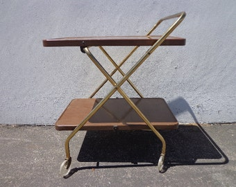 Mid Century Bar Cart Cosco Folding Gold Vintage MCM Tea Serving Mid-Century Retro Rolling Table Brass Portable Liquor Wine Spirits Regency