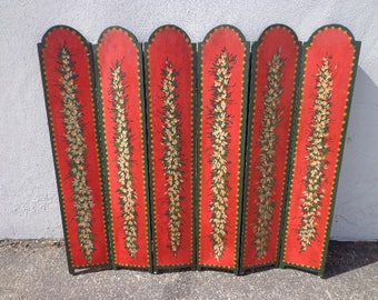 Fireplace Screen Antique Country French Provincial Vintage Shabby Chic Deocrative Cover Hand Painted Home Decor Red Green Floral Folding
