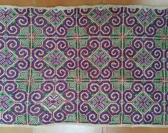 Hmong embroidery on hemp fabric embroidered hill tribe hemp textile (H218)