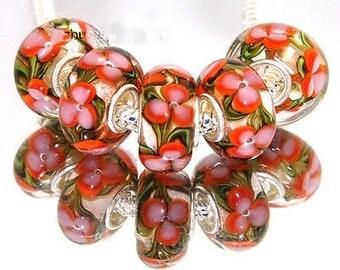 Flower Lampwork Murano Glass Bead .925 Silver Core Fits All European Charm Bracelet Snake Chain Bracelet BettyGiftStore