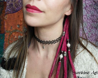 Pink dreads, clip in, wool dreads, Bagpuss, dread extensions, dark brown beads-pearlescent beads-Tibetan silver-diamante beads-spacer beads