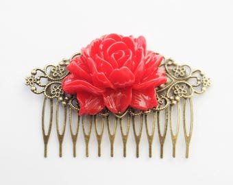 Red Rose Hair Clip, Red Rose Hair Comb, Red Hair Accessories, Red Wedding Hair Comb, Red Vintage InspiredFiligree Hair Comb, Extra-wide comb
