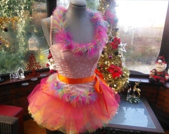 Christmas Fairy Victorian hen night party burlesque boned corset faux fur trimmed with skirt of colourful net frilled layers