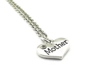 Mother Necklace, Mother Heart Necklace, Heart Necklace, Rhinestone Heart Necklace, Silver Chain