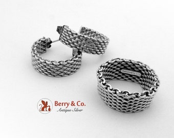 Authentic Tiffany Co Mesh Earrings Ring Set Sterling Silver