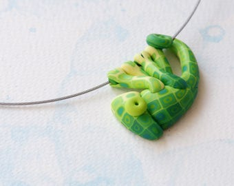 Hand made polymer clay cute GREEN chameleon pendant