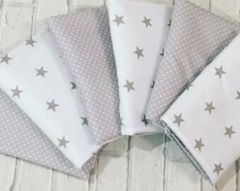 Stars Cot Bar Bumpers - Cot Bedding, Nursery Decor Crib Bumper - Grey White Pink Blue Navy Mint - Scandi Style
