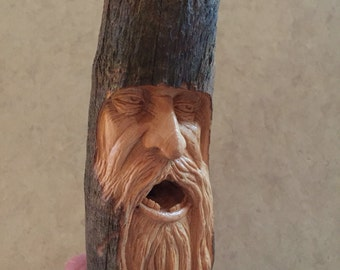 Wood Spirit Carving, Wood Carving, Old Man Sculpture, Perfect Wood Gift, Birthday Gift, Anniversary Gift, Original Art Collectible, Stick