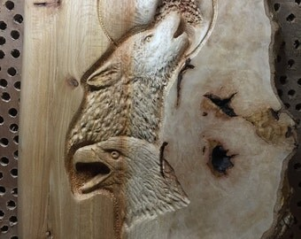 Eagle, Wolf, Wood Carving, Hand Carved Wood Art, Lodge Decor, Log Home Decor, Perfect Wood Gift, Sculpture, Handmade Woodworking, Josh Carte