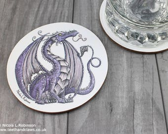 Purple Dragon Coaster, Dragon Drinks mat, Dragon Decor, Dragon Tableware, Kitchen, Dragons, Bar Accessories, Pub, Coasters, Mats