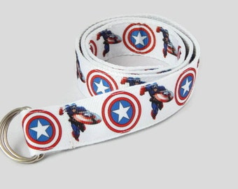 Captain America Belt, children Belt, Adjustable Cotton Boy's Belt, D-ring or Velcro belt