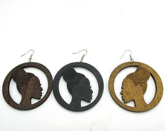 Afrocentric Nubian Queen Wooden Earrings- Qty: 1 pair