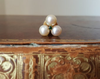 Vintage Ivory Faux Pearl & Emerald Green Tie Pin Tack Lapel Pin