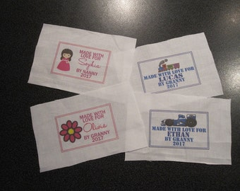 80mm x 50mm Single personalised quilting/sewing labels, choose your design