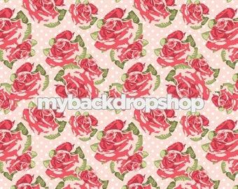 3ft x 3ft Pale Pink Floral Wallpaper Backdrop - Flower Backdrop for Photos - Pastel Pink and White Dot Flower Backdrop - Item 3164